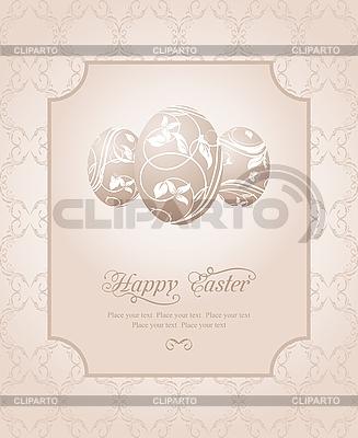 复活节鸡蛋老式卡 | 向量插图 |ID 3191273