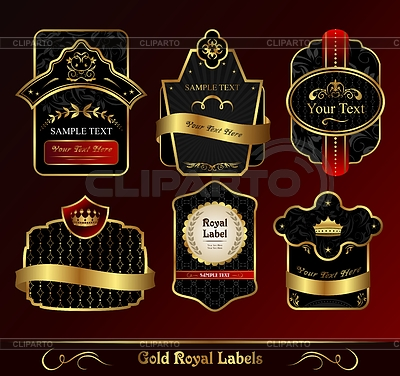 Decorative dark gold frames labels | Klipart wektorowy |ID 3243895