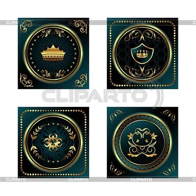 Zestaw ciemne wrobił złota etykiet | Klipart wektorowy |ID 3243901