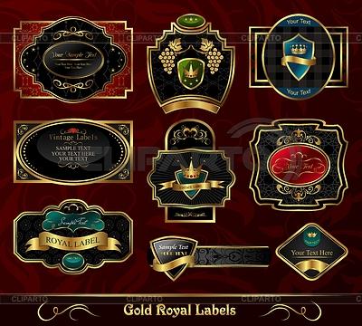 Zestaw kolorowych etykiet framed złota | Klipart wektorowy |ID 3243917