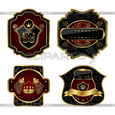 Set of black and golden labels | Stock Vector Graphics |ID 3243937