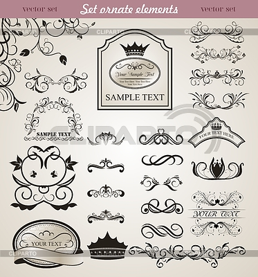 Set of floral ornate design elements | Stock Vector Graphics |ID 3244070