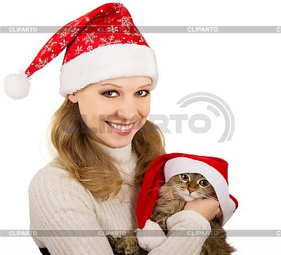 Piękna Pani. Santa z kotka | Foto stockowe wysokiej rozdzielczości |ID 3104945