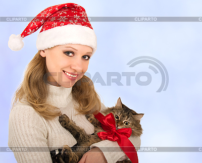 Attractive girl with cat | High resolution stock photo |ID 3104950