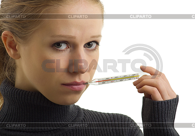 Sick woman holding thermometer | High resolution stock photo |ID 3279922