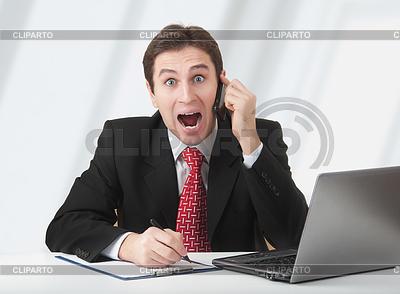 Surprised business man talking on phone | Foto stockowe wysokiej rozdzielczości |ID 3280121