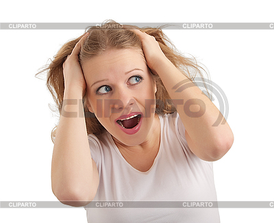 Young woman scared, grabbed hands behind head   High resolution stock photo  ID 3280156