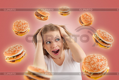 Diet concept. young woman is under stress   High resolution stock photo  ID 3280157