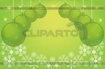 Grüner Weihnachtshintergrund mit Kugeln | Illustration mit hoher Auflösung |ID 3089260
