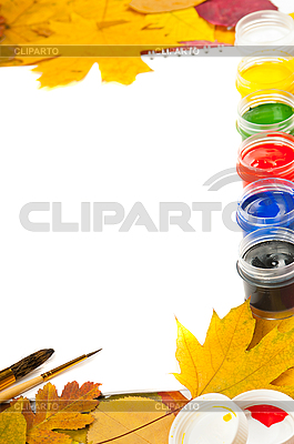 Album with paints, brushes and autumn leaves | High resolution stock photo |ID 3105599