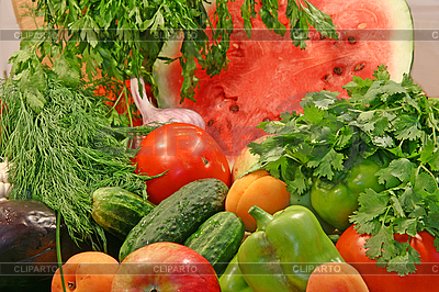 Colorful fresh vegetables and fruits   High resolution stock photo  ID 3094593