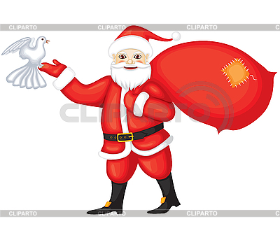 Weihnachtsmann und Taube | Stock Vektorgrafik |ID 3110595