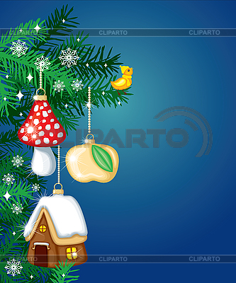 Christmas card with fir-tree decorations   Stock Vector Graphics  ID 3119933