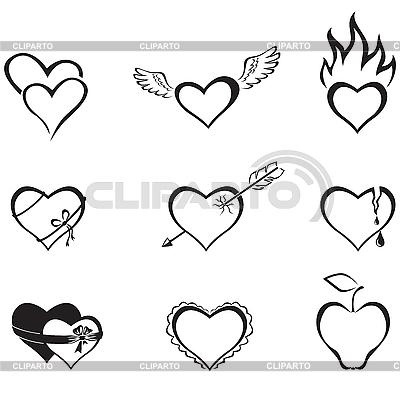черно белые сердечки картинки