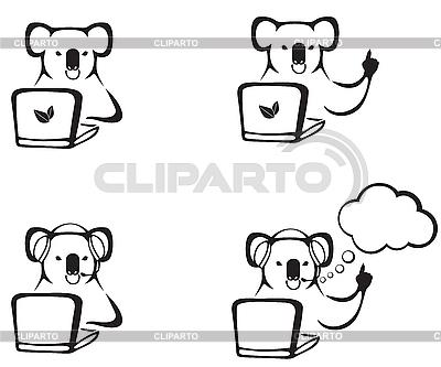 Koala z laptopem | Klipart wektorowy |ID 3124583