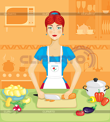 Mujer en la cocina | Ilustración vectorial de stock |ID 3127906