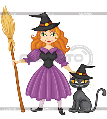 Witch with broom and kitty | Stock Vector Graphics |ID 3364485