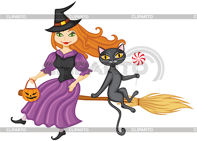 Witch and cat on broom | Stock Vector Graphics |ID 3383724