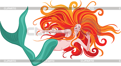 红头发的美人鱼 | 向量插图 |ID 3093507