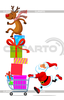 Santa with shopping cart full of gifts | Stock Vector Graphics |ID 3098203