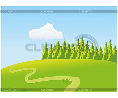 Grüne Wiese und Wald | Stock Vektorgrafik |ID 3102557