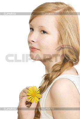 Schönes Mädchen mit gelber Blume | Foto mit hoher Auflösung |ID 3092971