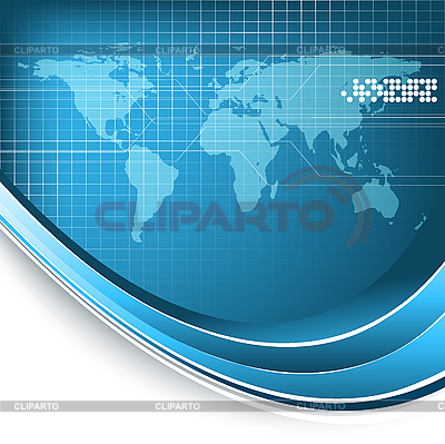 Blue abstract background with world map | Stock Vector Graphics |ID 3095182