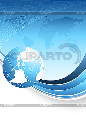 Blue abstract background with world map | Stock Vector Graphics |ID 3097157