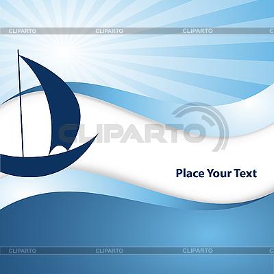 抽象波浪背景与帆船   向量插图  ID 3097576