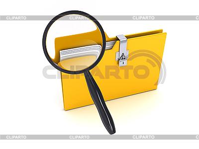 Żółty folder z lupą | Stockowa ilustracja wysokiej rozdzielczości |ID 3091583