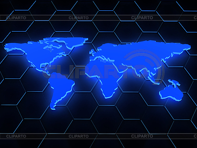 3d blue glowing map over black | High resolution stock illustration |ID 3320118