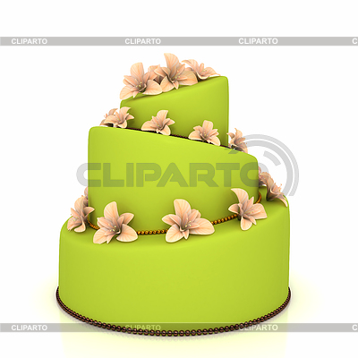 Weddind cake with flowers over white | High resolution stock illustration |ID 3334106