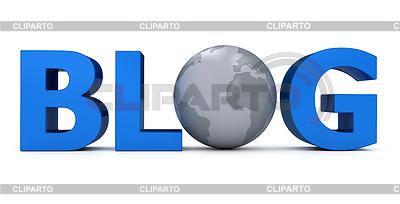 Word-Blog mit Globus über weißem | Illustration mit hoher Auflösung |ID 3334948