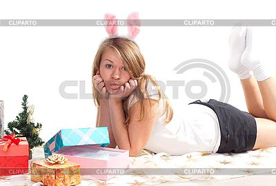 Girl with Christmas gifts | High resolution stock photo |ID 3092648