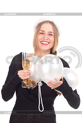 Girl celebrates Christmas with glass of champagne | High resolution stock photo |ID 3092709