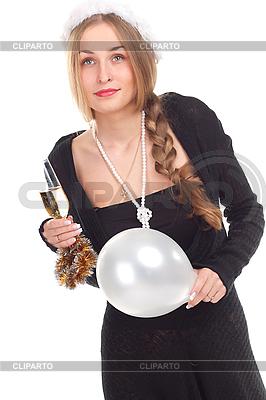 Девушка празднует Новый год с бокалом шампанского | Фото большого размера |ID 3092712