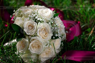 Wedding bouquet lies in the grass   High resolution stock photo  ID 3092916