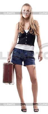 美丽的女孩在短裤与手提箱 | 高分辨率照片 |ID 3107638