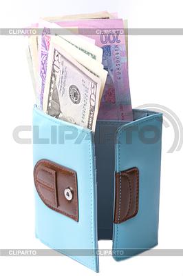 Blue purse with money - dollars and Ukrainian hryvnias | High resolution stock photo |ID 3266398