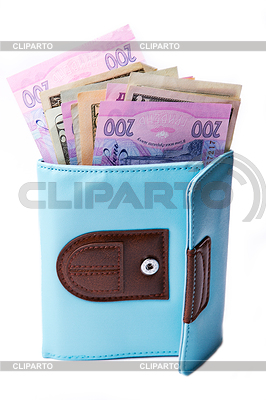 Ukrainian hryvnia currency and U.S. dollars in wallet | High resolution stock photo |ID 3266399