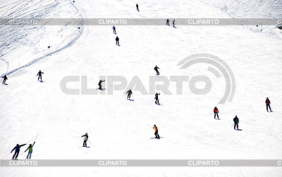 Mass descent of mountain skiers from hillside   High resolution stock photo  ID 3093771