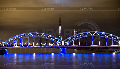 Railway bridge and television tower at night in Riga   High resolution stock photo  ID 3103837