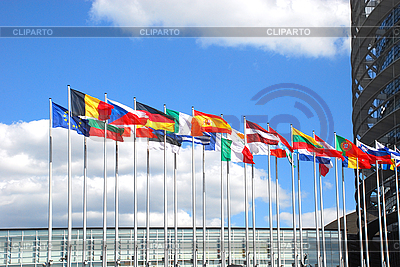 Europarliament in Strasbourg. Flags   High resolution stock photo  ID 3119942