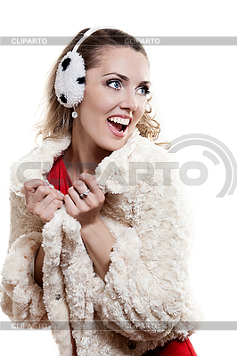 Young girl in fur coat and headphones | High resolution stock photo |ID 3093343