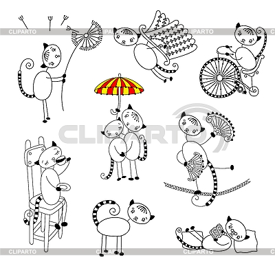 Collection of outline cats | High resolution stock illustration |ID 3093004
