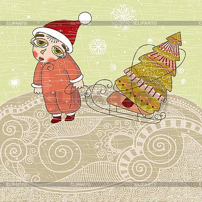 Kleiner Junge in Weihnachtsmütze mit Tanne | Stock Vektorgrafik |ID 3093042