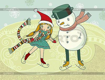 Kleines Mädchen und Schneemann auf dem Eis | Stock Vektorgrafik |ID 3093046