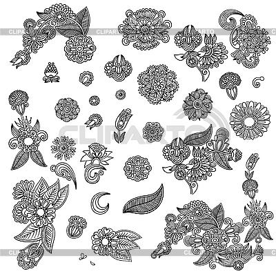 꽃 장식 요소의 집합 | 벡터 클립 아트 |ID 3093430
