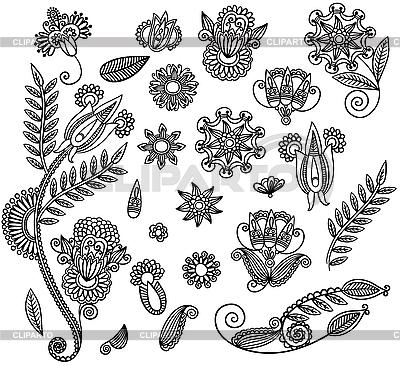 꽃 장식 요소의 집합 | 벡터 클립 아트 |ID 3093432