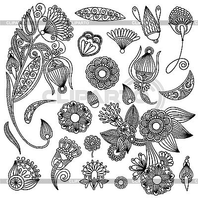 Conjunto de dise os ornamentales de flores ilustraci n for Diseno de plantas ornamentales
